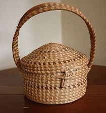 Woven SweetGrass Vtg Handled Gullah Carolina Covered Basket Purse Lunch Box