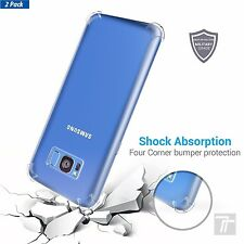 Samsung Galaxy S8 Case Clear Slim Shockproof Soft TPU Bumper Cover (2 Pack)