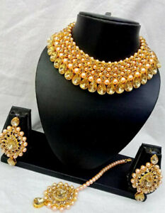 Bollywood Style Indian Gold Plated Fashion Jewelry Designer Bridal Necklace Set