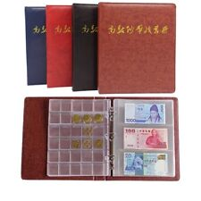 Coin Paper Money Album Collection Banknote Stamps Book Soft Leather Notes Coins