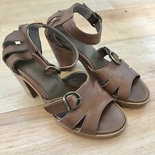Fiorentini + Baker Brown Real Leather Platform Wedge Heel Ankle Strap EUR 36 / 6
