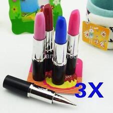 3pcs/Set Girls Handbag Office Lipstick Shape Ball Roll Point 0.5mm Writting Pen