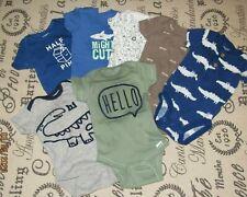 Lot Euc Baby Boy 3-6mth Carters & Gerber Short Sleeve Onsies & One Piece Pjs