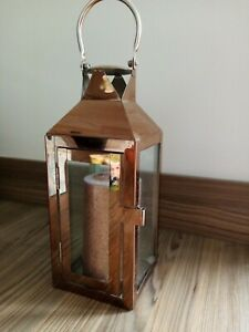 Copper Coloured Lantern With Matching Candle