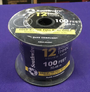 Southwire 100 ft. (30.48m) 12 Black Solid CU THHN Wire NEW~!