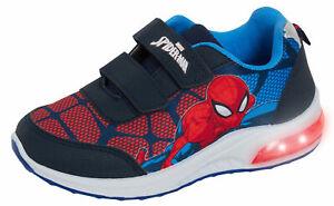 Boys Spiderman Light Up Trainers Kids Marvel Flashing Light Running Sports Shoes
