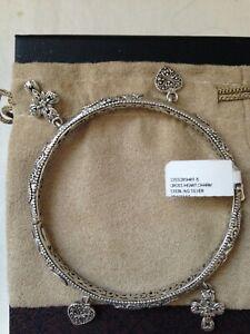 NWT/NIB Sarda Sterling Silver Cross and Heart Bangle Bracelet size 8