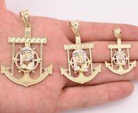 Men's Diamond Cut Jesus Head Anchor Charm Pendant Real 10K Yellow White Gold