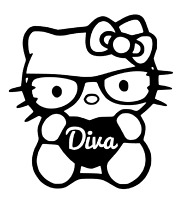 "DIVA HELLO KITTY DECAL 4"" vinyl car window sticker 13 COLORS"