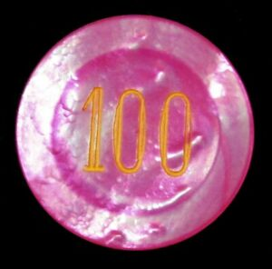 CASINO 100 VALUE MOTHER OF PEARL POKER RADIANT PINK 32mm CHIP