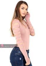 Vestiti da donna a manica lunga rosa con girocollo