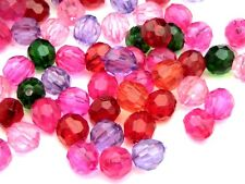 100 Pcs - 8mm Christmas Berry Mix Acrylic Faceted Round Beads Jewellery B84