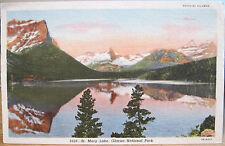 Montana Postcard St. Mary Lake Mont Glacier National Park Co. Hileman Linen 1953