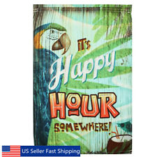 12X18'' Happy Hour Spring Parrot Garden Flag Mini Yard Banner Display Home Usa
