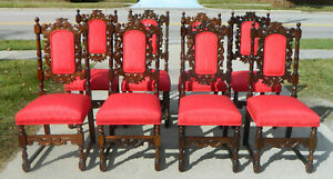 Set of 8 Jacobean Style Dining Chairs