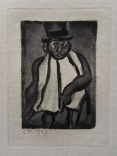 Georges ROUAULT : Elégant chapeau haut de forme - GRAVURE ORIGINALE SIGNEE #1955