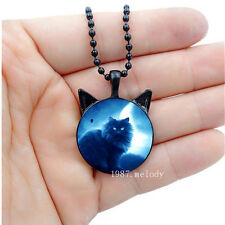 Photo Cabochon Glass charms Black Chain Cat with ears Necklace Pendant(Moon Cat