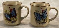 2~Vintage Viking Handcrafted Korea Coffee Tea Mugs Blue Butterfly Nature Flower