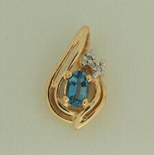 Blue Topaz Diamond 10K Yellow Gold Pendant Slide Brand New