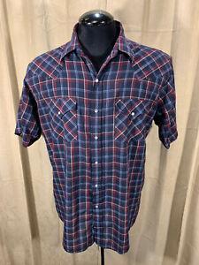 Mens Plains Western Shirt L Blue Plaids S/S Poly/Cot Snaps Rodeo Rockabilly