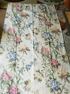 EUC Country Curtain Brand Panels, Cream with Floral Print 48x84 Inches 2 Panels
