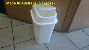 5X 15 LT  Plastic Garbage Bin with Swing Top, For Kitchen Trash Rubbish Can