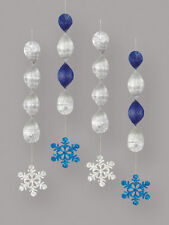 4 X Noël pendant Flocon de Neige Décorations Feuille Tourbillons Bleu & Argent