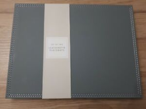 Modern Dining Dove Grey Faux Leather Design Set Of 6 Placemats BN