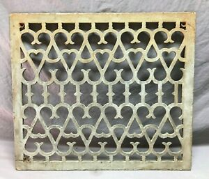 Antique 22x26 Cold Air Return Heat Cast Grate Grill Hearts Vtg Vent Old 1154-21B