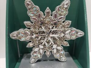 STUNNING! Jeweled Christmas Silver Gems Stocking Holder Home Decor