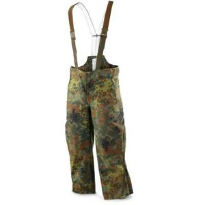 Original German army trousers GoreTex Bib n Brace Flecktarn pants overall rain