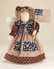 Primitive Country Patriotic Americana Rag Angel Stump Doll With Flag