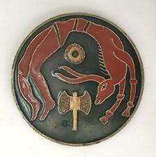 modernist Greek cloisonne brass enamel coaster / Crete mythology Minotaur Labrys