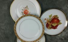 """4 MISMATCHED OLD CHINA CAKE/DESSERT, BREAD 7.5 - 7.75"""" PLATES WEDDING CP4f"""