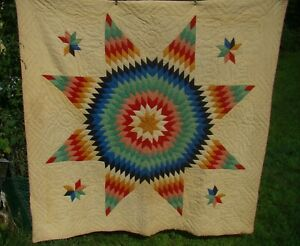 """Vintage Amish Lone Center Star Handmade Quilt, Hand Stitched & Quilted 75"""" x75"""""""