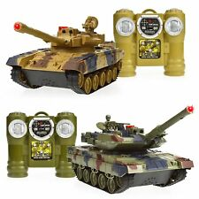 Set of 2 Remote Control Tanks RC Battle Tanks Toy Infrared Car Capabilites LED