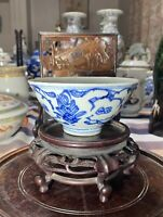 Antique Chinese Blue And White Porcelain Bowl Jiaqing Period