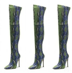 New Women Snakeskin Pattern Pointy Over Knee High 12cm Heels Thigh Boots Shoes L