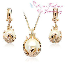 18K Rose Gold Plated Made With Swarovski Simulated Pearl Luxury Swan Set
