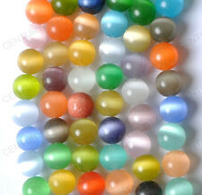 NP92  Free ship 50PCS random mixed color cat eye round loose beads 4MM