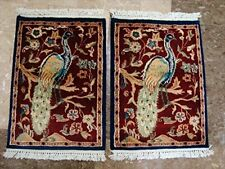 Peacock Tree of Life Bird Area Rug Wool Silk Hand Knotted Carpet Pair (2 x 1.6)'