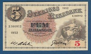 Sweden Banknotes 5 Kronor 1952. Rarre !