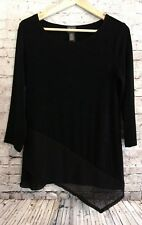 Travelers by Chico's 3/4 Sleeve Flutter Angle Hem High-Low Knit Top Black Sz 0
