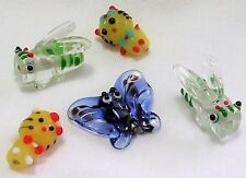 5 ASSORTED PIECES LAMPWORK GLASS BEADS (2) HONEY BEE  (2) CAT (1) BUTTERFLY