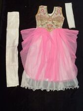 "30"" Age 6 - 8 Kids Bollywood Salwar Kameez Indian Girls Fancy Dress Pink White"
