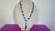 Necklace Earrings Pendant Set Turquoise, Magnesite, Bamboo Coral