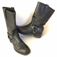 Frye Men's 11.5M Black Leather Belted Harness Motorcycle Boots Made in USA
