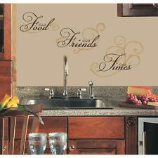 GOOD FOOD FRIENDS TIMES WALL DECALS Black Gold Quotes Stickers Kitchen Decor NEW