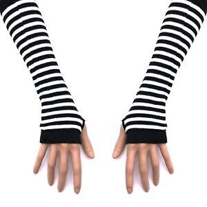 80s 90s Gothic Punk Glam Rock Emo Black White Stripe Knit Arm Warmer Armwarmers