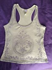 Brand New Olive Green Silver Beads Sequins Skinny Rib Vest Top, Racer Back S/M